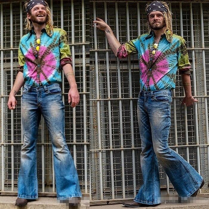 Trendy Men's Flared Jeans Bootcut Leg Denim Pants Man Classic Designer Punk Bell Bottom Denim Trousers Elastic Vaqueros Hombre