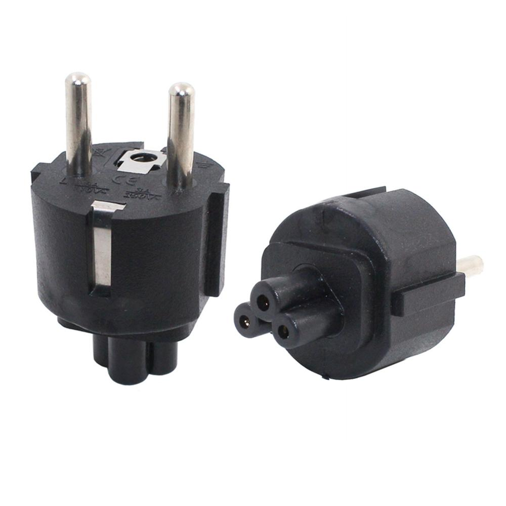 European CEE7/7 Schuko 2 Round Pins To IEC 320 C5 Mickey Mouse Receptacle Power Plug Convertor, EU-C5 AC Adapter For Laptop