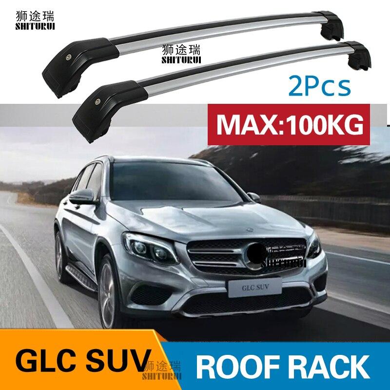 shiturui 2pcs roof bars for mercedes benz glc suv x253 2015 2020 250 300 aluminum alloy side bars cross rails roof rack luggage