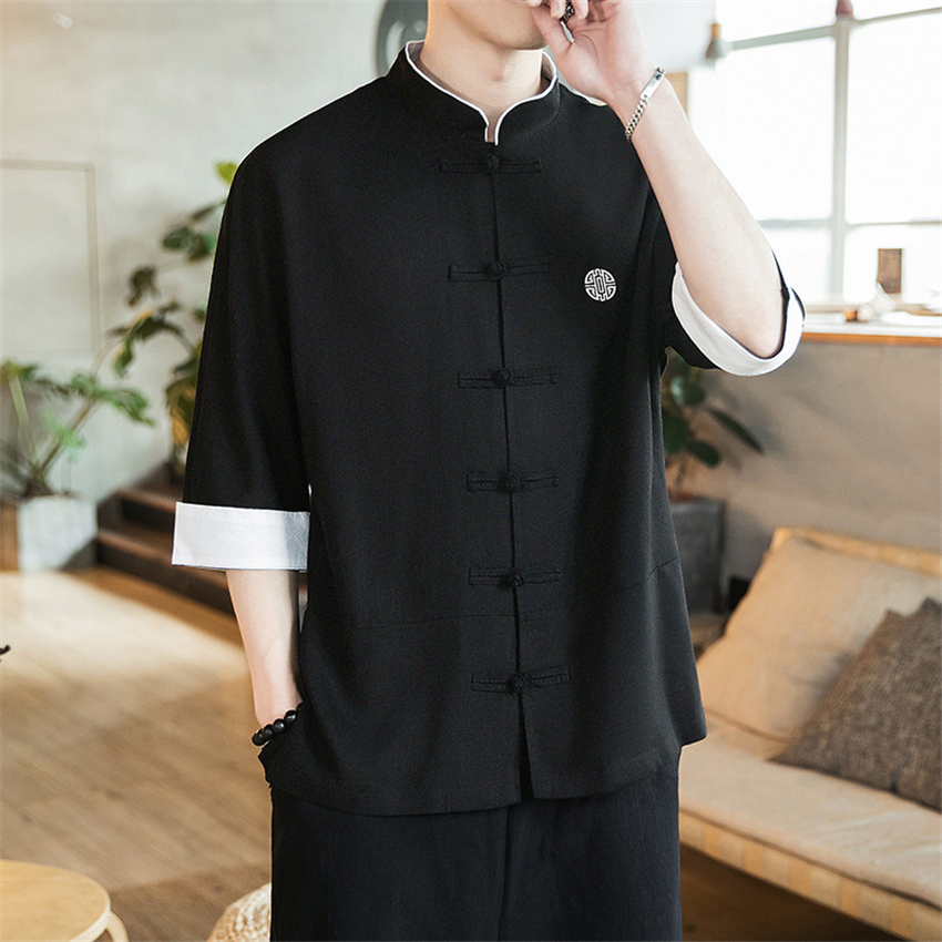 2020 New Chinese Style Mens Tops Tang Suit Linen Long Sleeve Solid Traditional Kung Fu China Style Hanfu Shirt Plus Size M-5XL