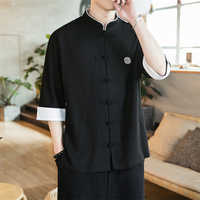 2019 New Chinese Style Mens Tops Tang Suit Linen Long Sleeve Solid Traditional Kung Fu China Style Hanfu Shirt Plus Size M-5XL