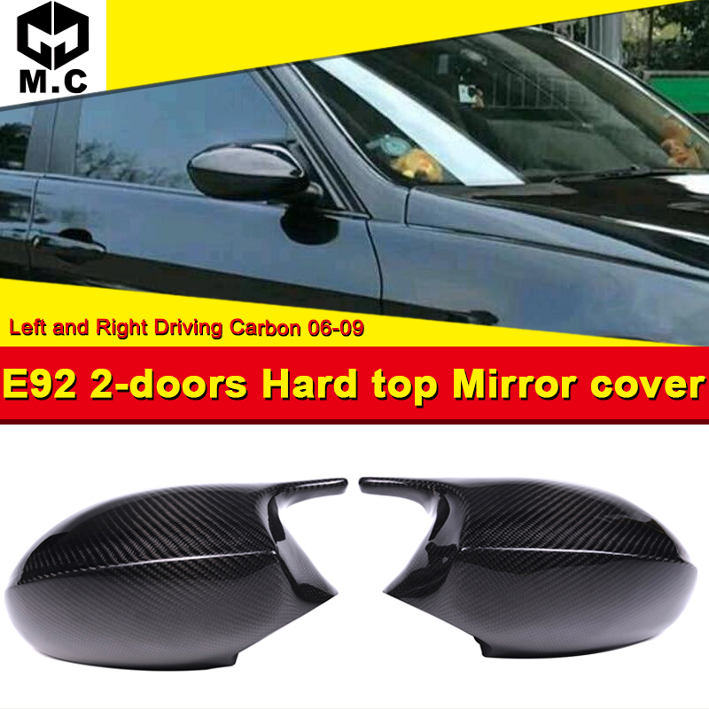 For BMW E92 2 Door Hard Top Mirror Cover Cap Add on Style M3 Look 100% Real Vacuumed Dry Carbon Fiber Replacement Mirror 2006 09-in Mirror & Covers from Automobiles & Motorcycles on MC motorsport co.,ltd Store