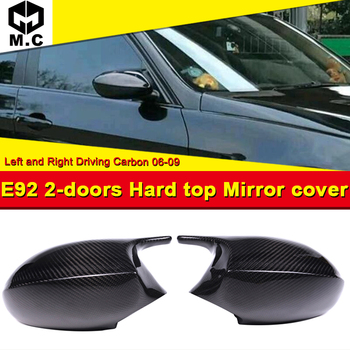 For BMW E92 2-Door Hard Top Mirror Cover Cap Add on Style M3 Look 100% Real Vacuumed Dry Carbon Fiber Replacement Mirror 2006-09