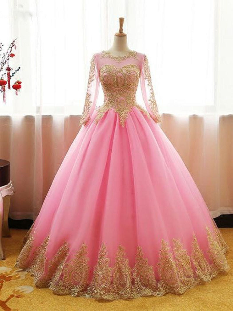 Lace Ball Gown Quinceanera Dresses Sweet 15 16 Dress Pink Long Sleeves Prom Party Dress Floor Length Vestidos Quinceanera