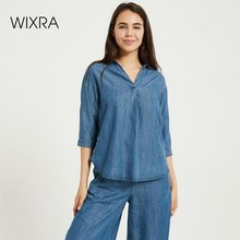 Wixra Women Demin Blouse Ladies Long Sleeve Basic Casual Style Loose Shirts 2020 Autumn Spring Feminine Tops
