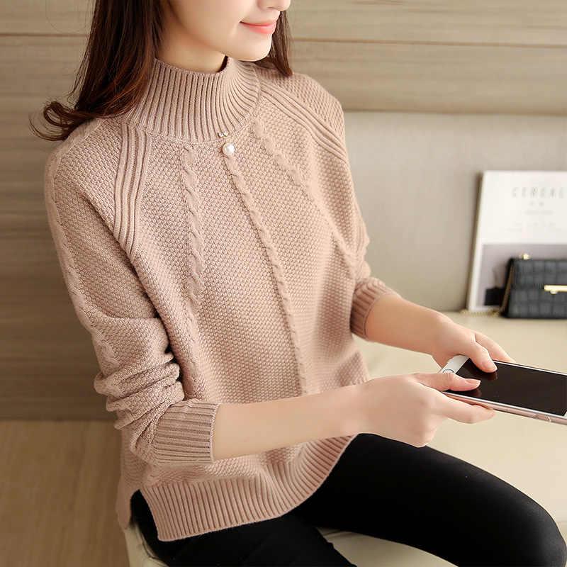 2019 outono inverno nova gola alta de malha feminina blusas sólida pérola solta senhora elegante puxa moda outwear casaco topos