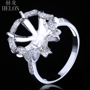 Image 3 - هيلون 10X12 مللي متر البيضاوي الصلبة 14K الذهب الأبيض AU585 0.3ct الماس الطبيعي النساء الزفاف غرامة مجوهرات فريدة من نوعها خاتم بدون فص الإعداد