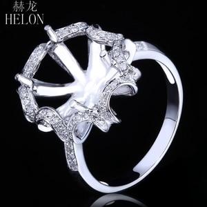 Image 3 - HELON 10X12mm óvalo sólido 14K oro blanco AU585 0.3ct diamante Natural mujeres boda joyería fina única Semi montaje anillo