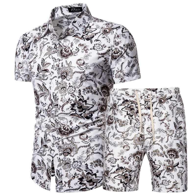 Herren Sommer Set 2020 Hawaiian Floral Shirts + Strand Shorts 2 Stück Sets Quick Dry Kurzarm Trainingsanzug Männlichen Sets ropa Hombre