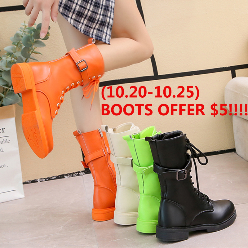 Colorful Fall Boots Women Fashion White 2019 New Winter Autumn Combat For Black Ankle