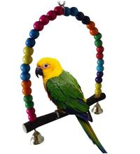 1pcs Pet Birds Toys Parrot Swing Stand Holder Wooden Small Cage Color Random
