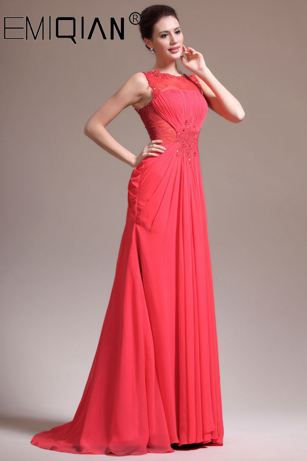 Womens Elegant Floral Lace Chiffon Pleated Formal Evening Gown Wedding Party Prom A-Line Maxi Long Dress