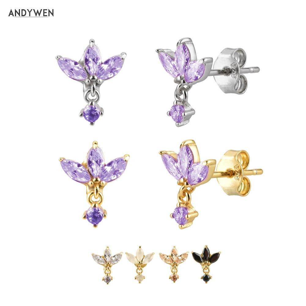ANDYWEN 100% 925 Sterling Silver Three Zircon Purple Stud Earring 2020 Queen 8 Color Piercing Ohrringe Small Women Jewelry