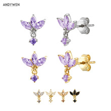 ANDYWEN 100% 925 Sterling Silver Three Zircon Purple Stud Earring 2020 Queen 8 Color Piercing Ohrringe Small Women Jewelry