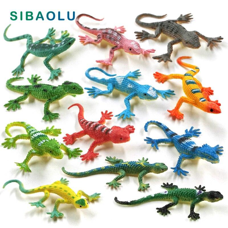 12pcs Diy Simulation Mini Lizard Figurine Reptile Animal Model Home Decor Miniature Fairy Garden Decoration Accessories Modern