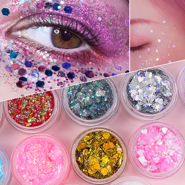 1Pcs Glitter Glam Eye Sparkly Glitter Hair Shimmer Gel Flash Heart Loose Sequins Glitter Eyeshadow Party Face Body Decoration 2