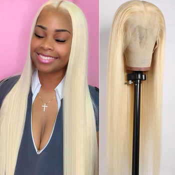 613 Lace Front Wig Blonde 13x4 Lace Front Human Hair Wigs Remy 150% 180% Brazilian Preplucked Transparent Lace 613 Wig Straight