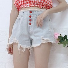 цена на Summer Women Fashion High Waist Denim Shorts Heart Button Ripped Jeans Sweet Kawaii Tassel Pockets Shorts