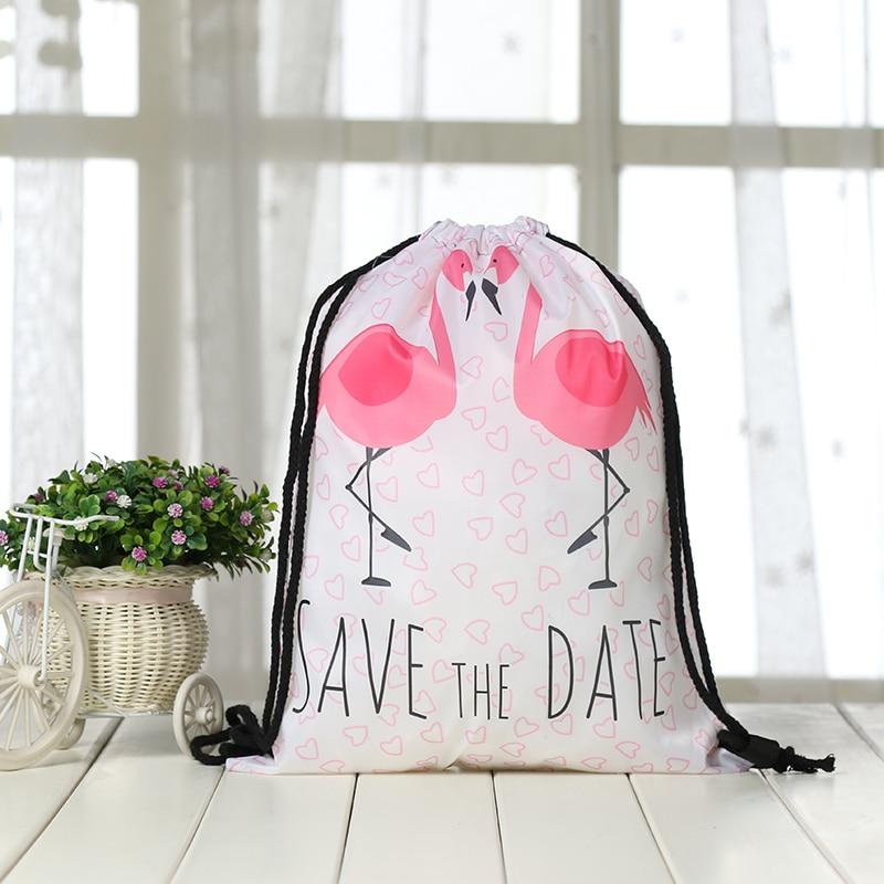 Drawstring Backpack Drawstring Bag  Fashion Women 3D Printing Travel Softback Men Casual Bags Unisex Women's Shoulder Flamingo