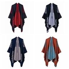 Женский толстый шарф-шаль, этнический цветочный узор, Пашмина, зимняя теплая накидка, модное разноцветное элегантное пончо, 923-439