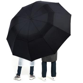 Large Folding Women Umbrella Rain Men Double layer Big Travel Umbrella Waterproof Male Parasol for 3-4 people 125CM Diameter