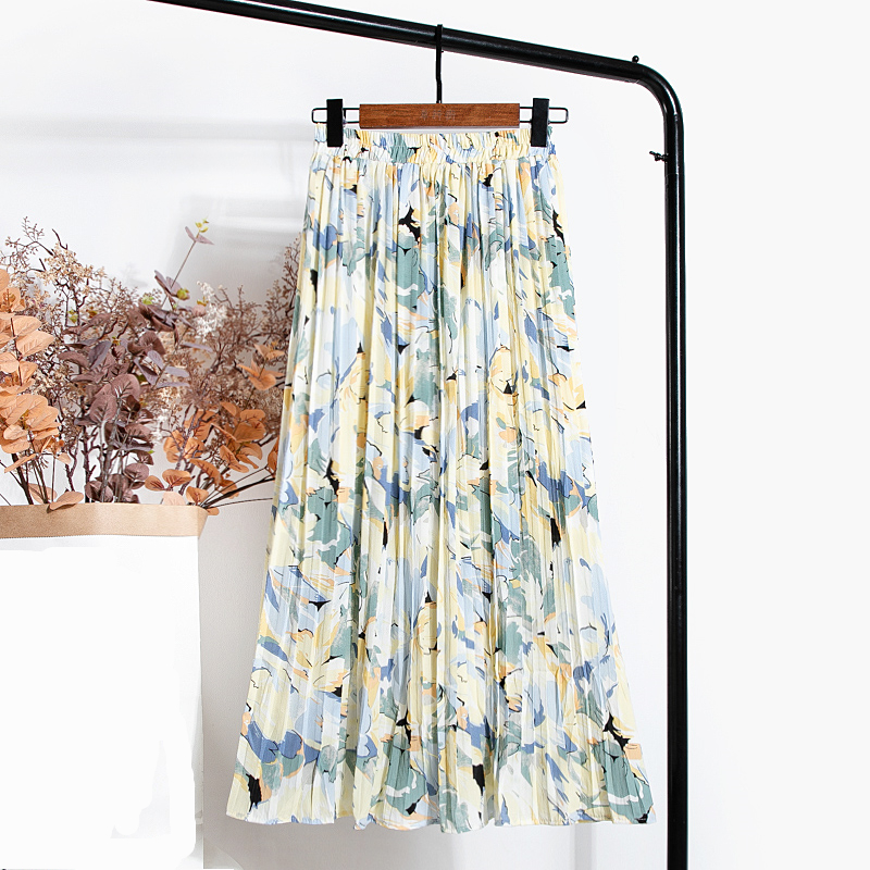 REALEFT New 2021 Vintage Floral Printed Tulle Pleated Mi-long Women Skirts High Waist Loose Female Umbrella Skirts Spring Summer 4