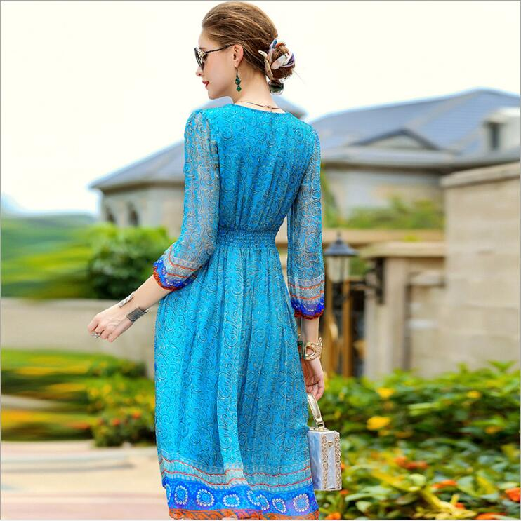 Plus Size spring and summer lady Women clothing loose printed embroidery mulberry silk real silk dresses 0483 - 2