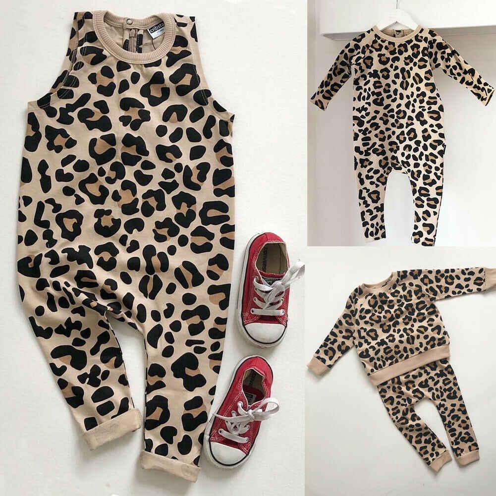 Juego hermana Infantil Niño niños bebé niña niño niña ropa de estampado de leopardo mono cálido traje de ropa linda
