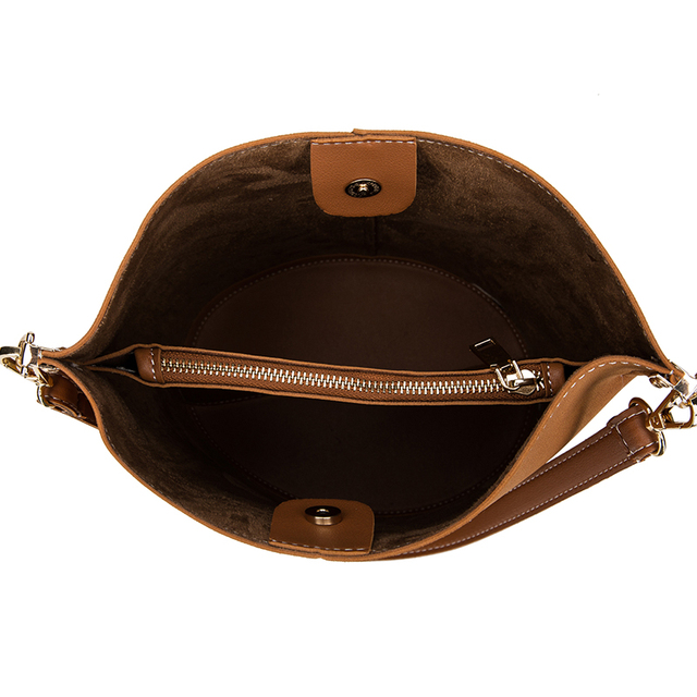 Frosted Leather Bucket Handbag