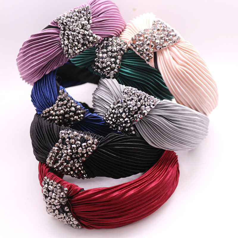 Bohemian Vintage Pleated Fabric Knot Hairband Rhinestone Handmade Headband Customized Hair Accessories