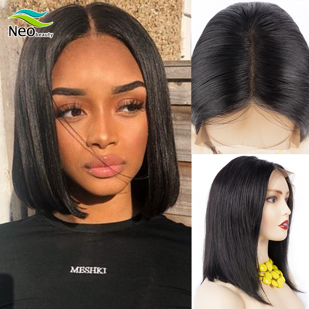 Straight Bob <font><b>Wig</b></font> Human <font><b>Hair</b></font> <font><b>Wigs</b></font> 13x4 Pre Plucked Lace Front Human <font><b>Hair</b></font> <font><b>Wigs</b></font> Brazilian <font><b>hair</b></font> <font><b>10A</b></font> Remy Lace For Black Women image