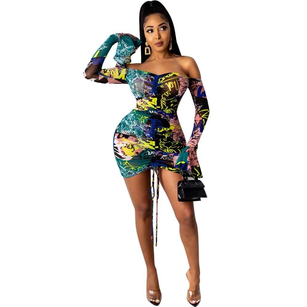 Snake Tie Dye Printed Ruch Drawstring Wrap Dress Woman Off Shoulder Long Flare Sleeve Sheath Dresses Retro Backless Robe Femme 9