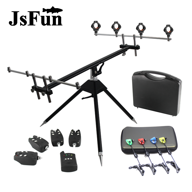 Aluminum Fishing Rod Pod For Carp Fishing Bite Alarm Fishing Swinger Set LED Indicator Rod Holder Accessory FO379