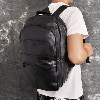 """Design Male Original Leather Casual Fashion Large Capacity Travel School College 17"""" Laptop Student Bag Backpack Daypack BB333"""