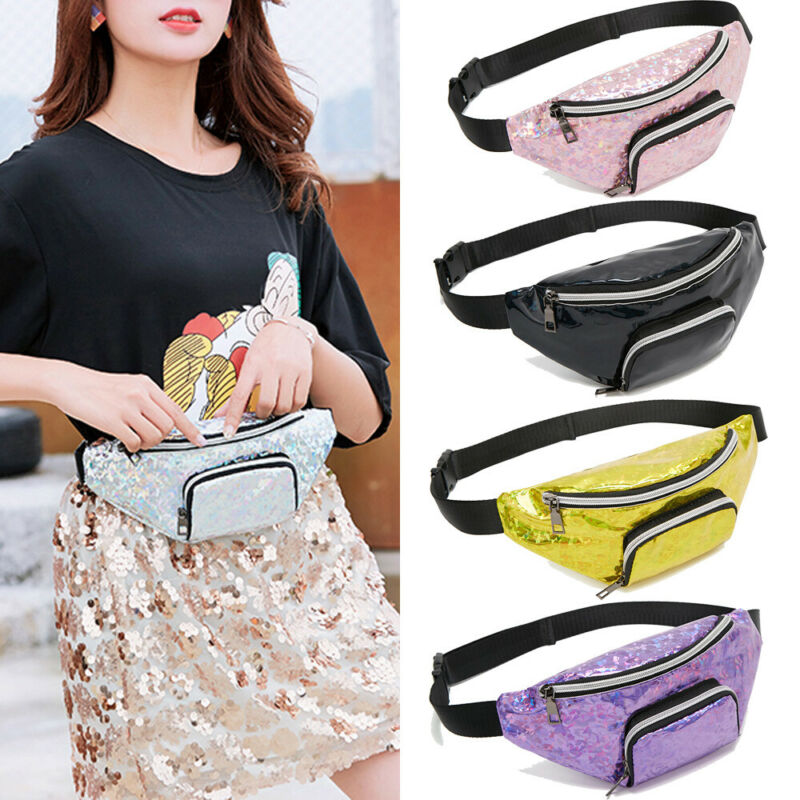 2019 New Summer Women's Waist Bag Chest Bag Solid Sequined PU Leather Large Capacity Zipper Travel Sport Hanging Out Waist Bag