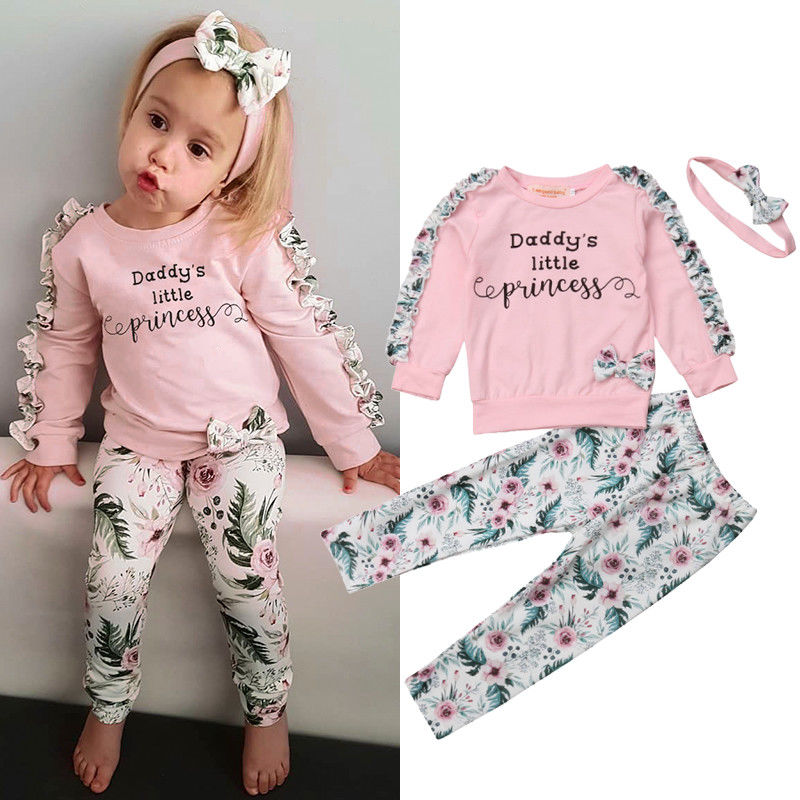 Autumn Winter 3PCS Kids Toddler Newborn Baby Girl Clothes Set Ruffles Long Sleeve Floral T-shirt Tops+Pants+Headband Outfits