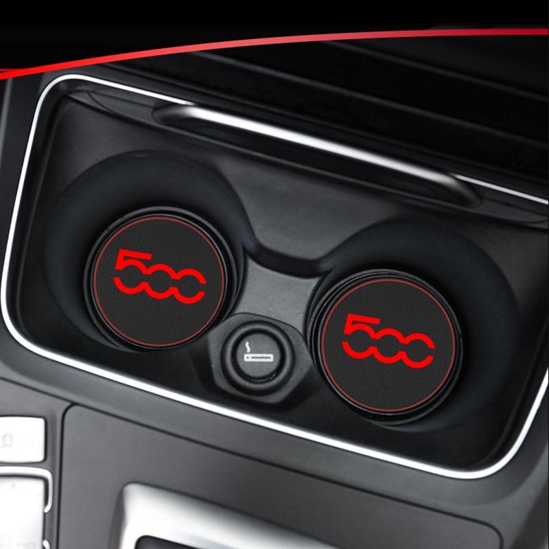 1pcs Car Cup Holder Mat Leather Water Coaster Decoration For Fiat 500 Punto Stilo Ducato Palio Bravo Doblo Car Accessories