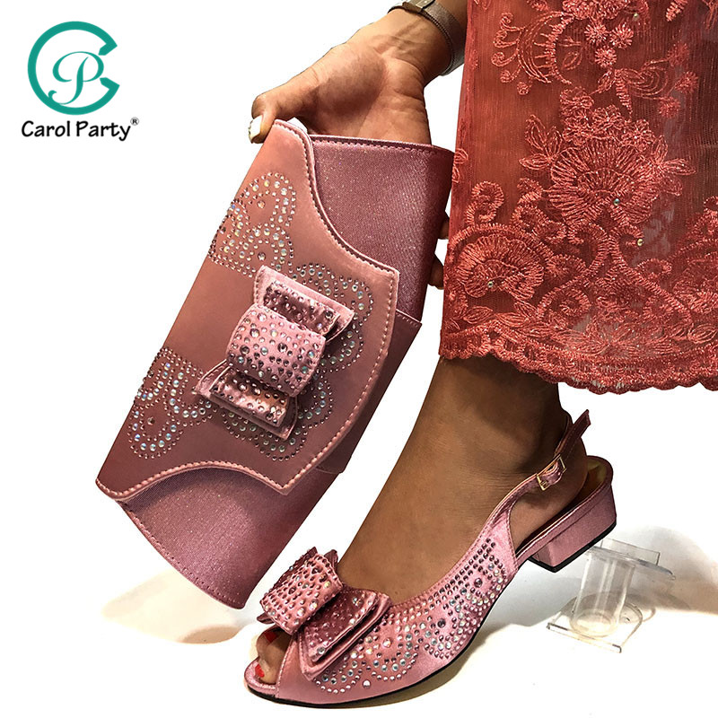 Pink Color Shoe And Matching Bag For Nigeria Party African Wedding Shoes And Bag Set Italian Women Wedding Shoes And Bag