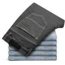 Зимние высококачественные теплые флисовые мужские джинсы, плотные Стрейчевые прямые джинсы из денима, подходят брюки, хлопковые штаны, подходят для-15