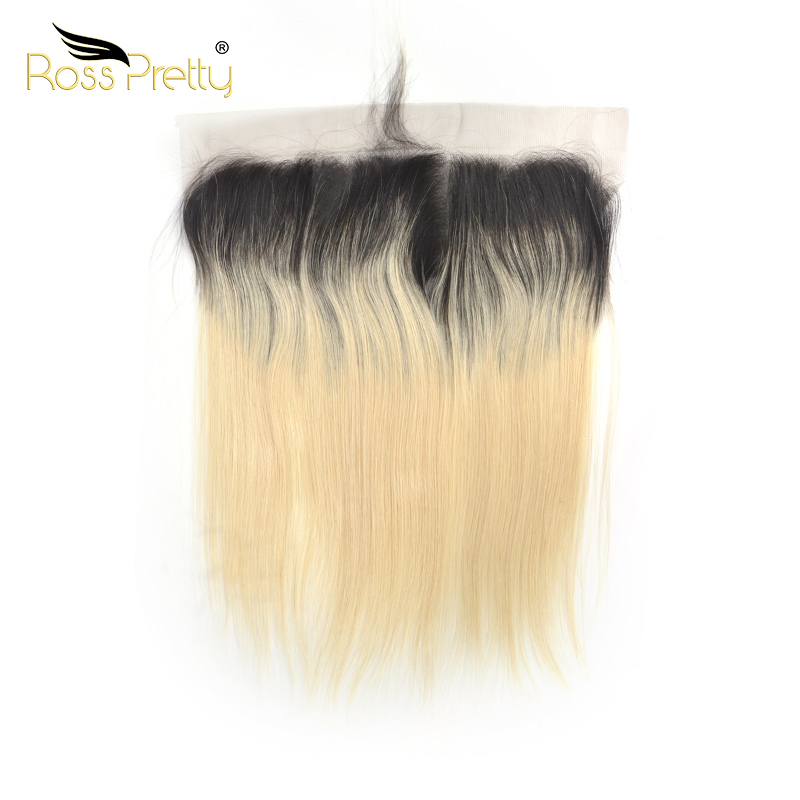 Ross Pretty Remy Peruvian Straight Hair Lace Frontal Ombre Color 1b Blonde Ear To Ear 13x4 Front 100% Human Hair 1b/613