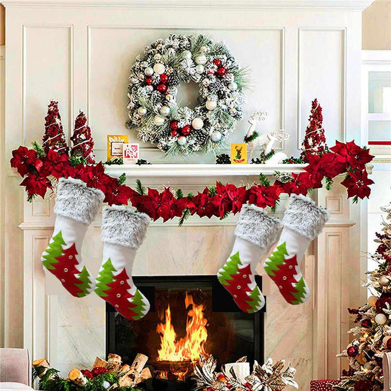 Kerst Sok Geschenken Xmas Tree Decor Kousen Hanger Sok Ornamenten Kids Snoep Zak Gift Kerst Decoratie Voor Thuis