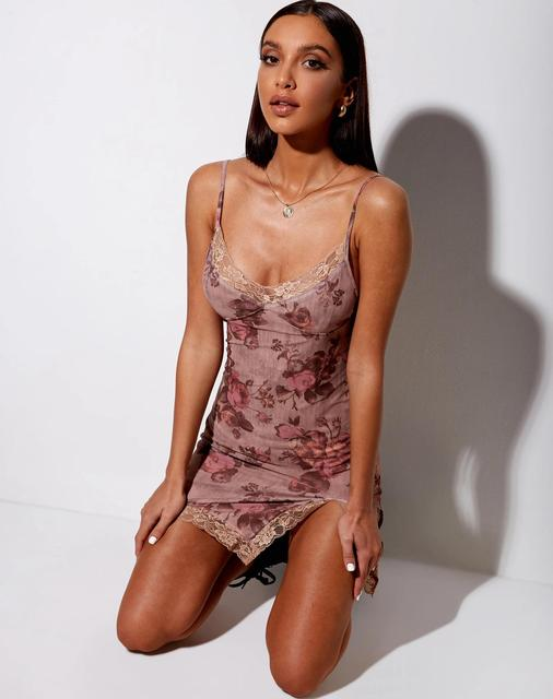 New Women's Sexy Print Bodycon Mini Dress V Neck Spaghetti Strap Sleeveless Lace Trim Split Hem Cami Dress Club Party Vestidos 1