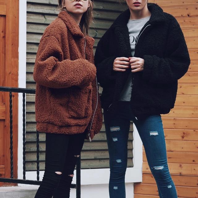 Automne hiver fausse fourrure manteau femmes 2020 décontracté chaud doux fermeture éclair fourrure veste en peluche pardessus poche grande taille Teddy manteau femme XXXL 6