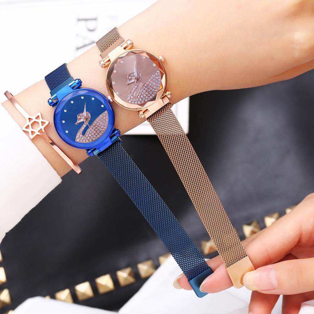 Designer Watch Ladies Casual Magnet Watch 2019 Luxury Diamond Rose Gold Women Starry Sky Quartz Wristwatches Blue Clock Female