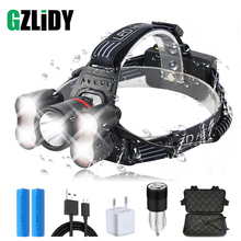 5 LEDS Super Bright LED Headlamp Rechargeable Led Headlight 4 Switch Modes Fishing Lamp Waterproof +2x 18650 Batteries
