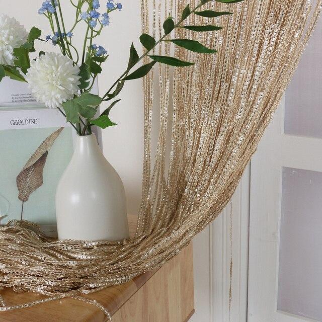 100x200cm Home Divider Sheer Door Window Decor Tassel Panel Shiny String Curtain String Sheer Curtain For Kitchen Living Room 4