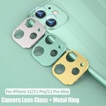 Kamera Lens tam kapak koruyucu Metal halka + temperli cam iPhone 11 Pro XS Max XR X geri kamera Lens koruyucu kılıf