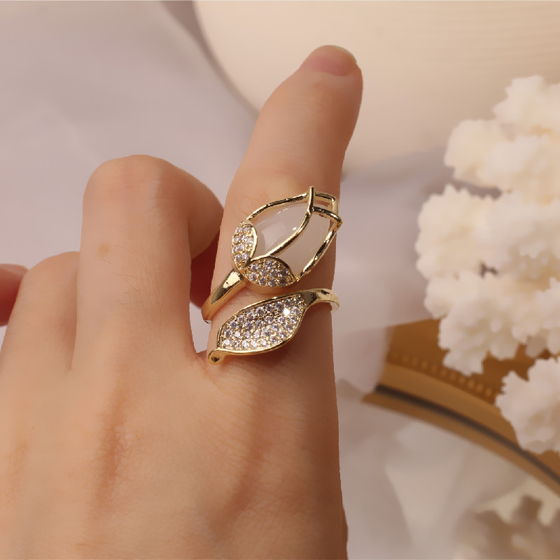 South Korea's new design fashion jewelry exquisite copper inlaid zircon opal tulip creative opening ring female prom party ring