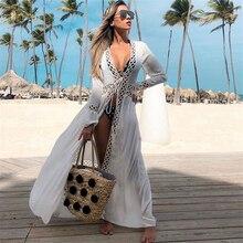 Богемное набивное сексуальное летнее пляжное платье, хлопковая туника, женский пляжный купальник, накидка бикини, саронги Q675