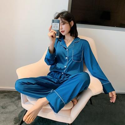 Silk satin pajamas Jumpsuits & Pyjama Sets Women color: Blue|Gray|Green|Pink|wine red|Yellow